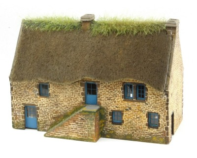 Cottage bretone in pietra a vista in scala HO